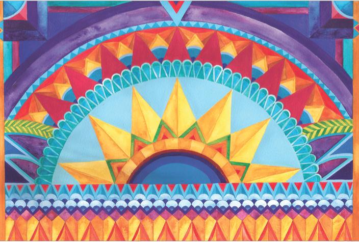 Sunrise.  An illustrated postcard by Jamie Bauza.