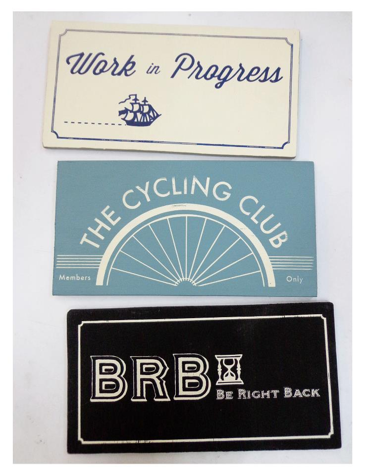 Who says you can only screenprint on fabric and paper?  Check out these cool screenprinted signs.