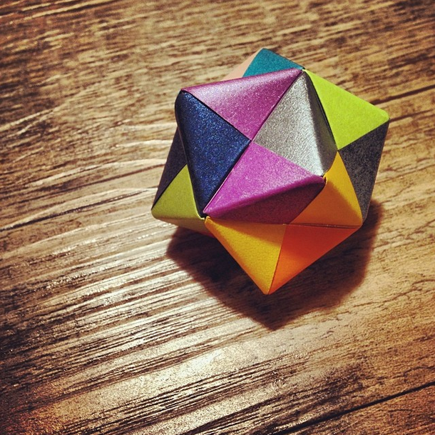 Modular Origami.  This piece is made up of Sonobe modules.
